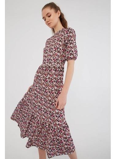 Modaset Fırfırlı Çiçekli Elbise Pembe Pembe